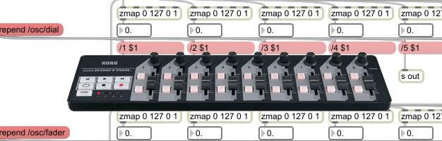 nanoKontrol MIdi Control to OSC via MAX